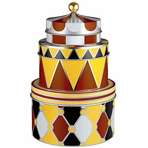 Alessi MW31S3 Circus Set of three all-purpose boxes in tinplate with decoration