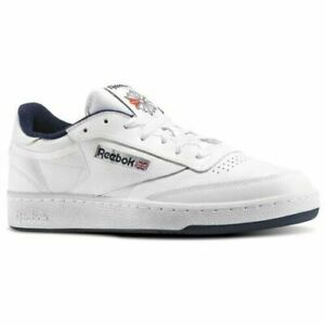 MEN-039-S-Reebok-Club-C-85-Baskets-Homme-UK-11-5-12-13-blanc-et-bleu-marine-AR0457