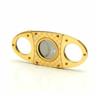 COHIBA Gold Plated Checked Double Blades Stainless Steel Cigar Cutter