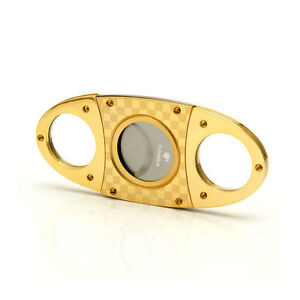 COHIBA-Gold-Plated-Checked-Double-Blades-Stainless-Steel-Cigar-Cutter