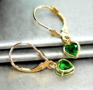 14k-Yellow-Gold-Bezel-Heart-Birthstone-Leverback-Pierced-Dangle-Earrings-5x5-MM