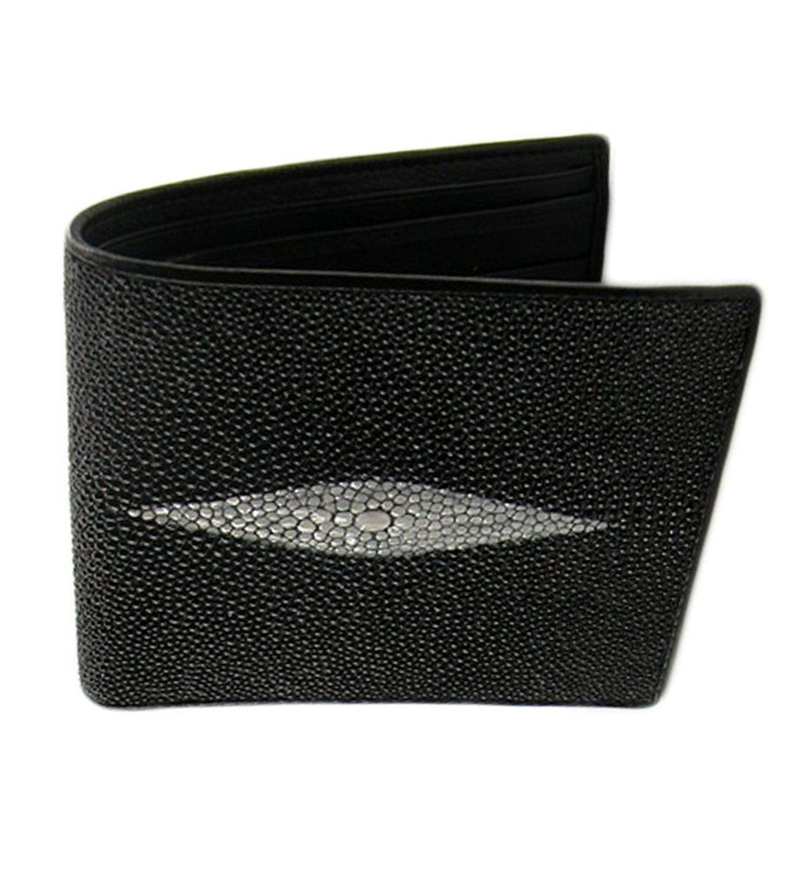 Genuine Real Stingray Skin Leather Wallet ID Card Bifold Men Black Purse Gift