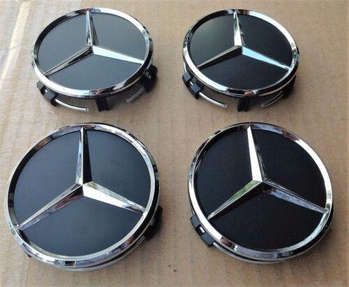 UK 4x Mercedes Benz Aleación Centro De Rueda Caps 75mm insignias HUB Negro Emblema