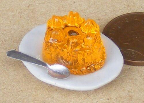 SCALA 1:12 Arancione MARMELLATA su un piatto in ceramica tumdee Dolls House Cibo Accessorio OJ7