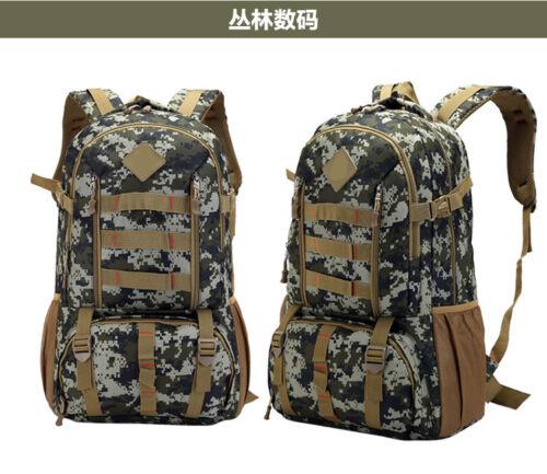 50L Mens Canvas Backpack Camping Travel Hiking Bag Sports Rucksack Schoolbag New