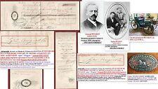 Autographes 1879 sur mandat Inventeurs première voiture essence en 1890: PEUGEOT