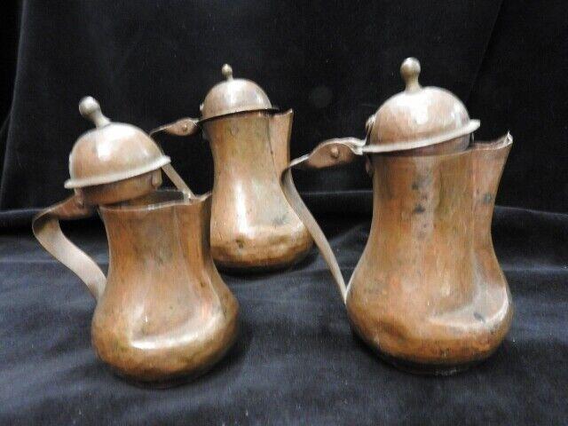 3 Enfilade antique petite théière en cuivre d'epoca Authentique