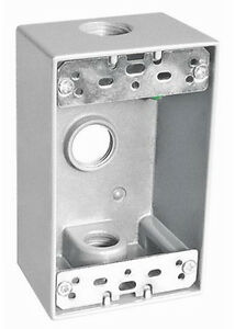 "Weatherproof 1-Gang FS Box w// Three 3//4/"" Holes GRAY Metal Outdoor 1 pc"