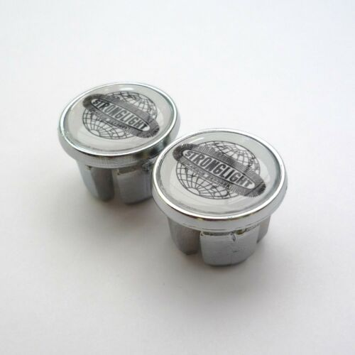 Caps Vintage Style Repro Stronglight Chrome Racing Bar Plugs