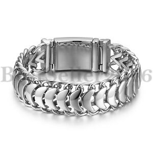 High-Polished-19MM-Wide-Stainless-Steel-Mens-Watch-Band-Chain-Bracelet-8-46-034