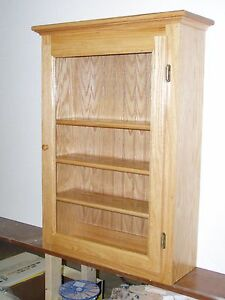 Image Is Loading Oak Display Wall Cabinet Curio Shelf Collectible Display