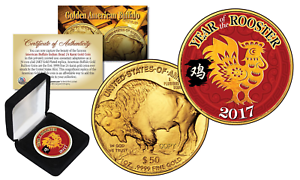 2017 YEAR OF THE ROOSTER Lunar CNY 24K Gold Clad Indian Buffalo Tribute Coin BOX