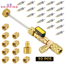 Ac 20 Pcs Valve Cores 10 Pcs Brass Nuts Remover Installer Tool Dual Size Sae