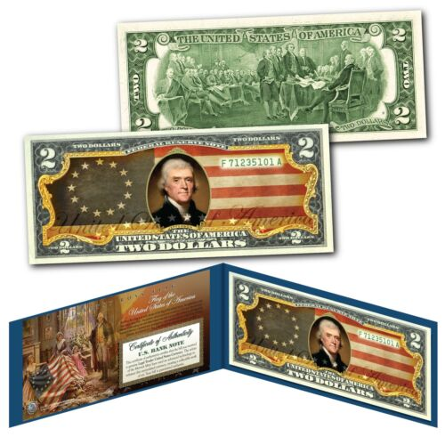 BETSY ROSS 13 Stars Colonies 1777 USA Flag Genuine Legal Tender U.S $2 Bill
