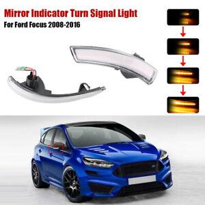 Paar-Dynamische-Klar-LED-Blinker-Licht-Spiegelanzeige-Fuer-Ford-Focus-2008-2016