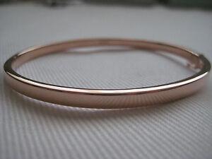 9-Ct-Or-Rose-Classique-4mm-ovale-bracelet-a-charniere-Sexy-nouveau-arrivee