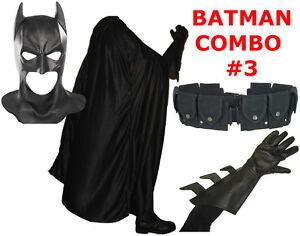 BATMAN-The-Dark-Knight-Rises-costume-cowl-cape-gloves-REAL-black-utility-belt