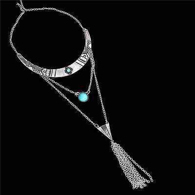 Retro Ethnic Bohemian Turquoise Statement Necklace Arrow Pendant Charm