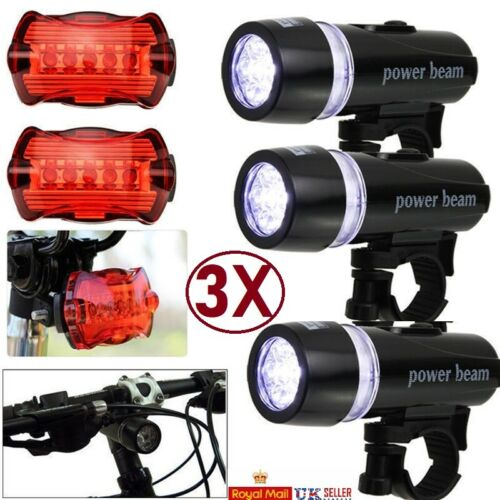 3X Waterproof 5 LED Bike Bicycle Cycle Front and Rear Tail Light Bright Lights