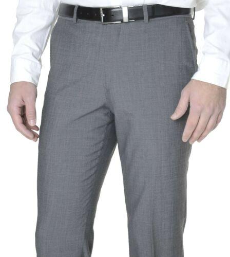 $150 Bar III Slim Fit Gray Textured Mens Flat Front Wool Blend Dress Pants