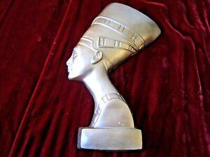 MID-CENTURY-VINTAGE-SILVER-EGYPTIAN-QUEEN-NEFERTITI-CHALKWARE-WALL-HANGING-ART