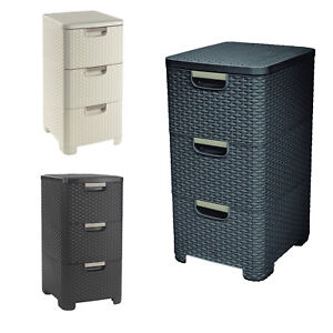 Image is loading Rattan-Style-Plastic-Storage-Tower-3-Drawers-Dark-  sc 1 st  eBay & Rattan Style Plastic Storage Tower 3 Drawers Dark Brown Creamy Grey ...