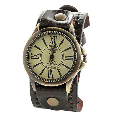 Vintage Mens Womens Steampunk Watches Big Wide Leather Wristband Bracelet Cuff