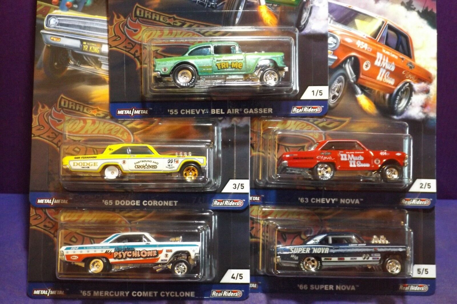2018 Hot Wheels 50th Car Culture DRAG STRIP DEMONS Set of 5. New mint cards.