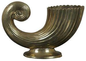 """Vintage Brass Hollywood Regency Cornucopia Form Horn Trophy Urn or Bud Vase 9"""""""