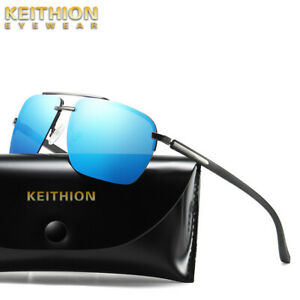 KEITHION-Polarized-Mens-Sunglasses-Half-Rimless-Eyewear-Outdoor-Driving-Glasses
