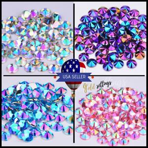 Acrylic-Crystal-Rhinestones-Pearls-Bead-Flat-Back-MIX-3-SIZES-Nail-Art-Gems