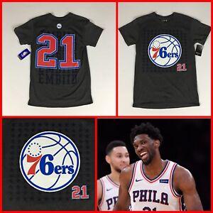 size 40 0dcc2 873f1 Details about Men's JOEL EMBIID Philadelphia 76ers #21 Jersey-Style Gray  Tee-Shirt - S,M,LG