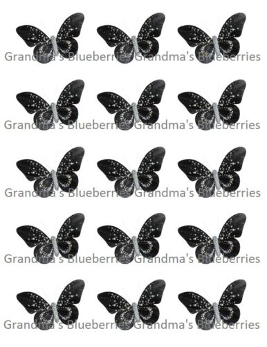 Edible Black Diamond Butterflies Wedding Cake Toppers//Cake Decorations Set of 15