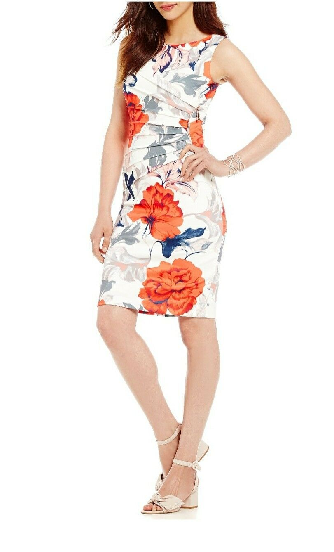 NWT IVANKA TRUMP Printed Floral Sheath Dress Zipper Größe 2 Summer