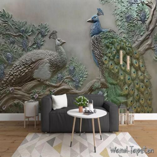 Vlies Fototapeten Wandtapeten Wandbilder 3D-Effekt Relief Baum Pfau 8042
