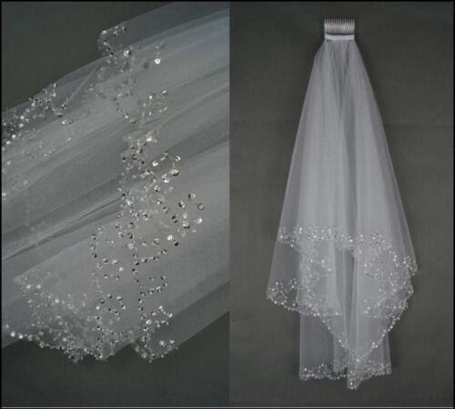 2T White//Ivory Elbow Beaded Edge Pearl Sequins Wedding Bridal Veil With Comb