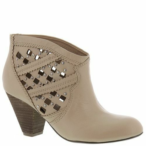 Carlos by Carlos Santana 7.5 38 ANKLE BOOTS SHOES Keller Leather Bone Studs
