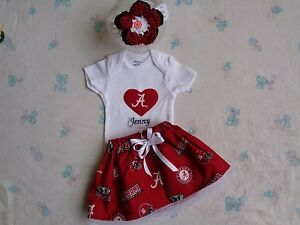 Alabama Crimson Tide Baby Girl Skirt, Personalized Bodysuit and Headband.