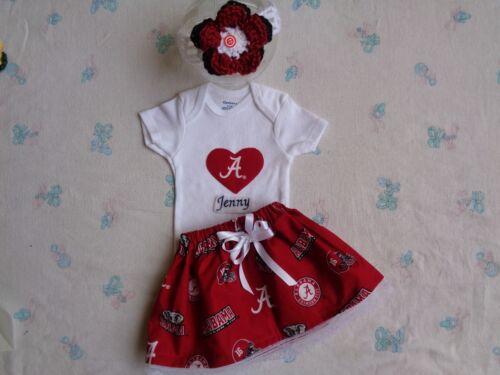 Personalized Bodysuit  and Headband. Alabama Crimson Tide Baby Girl Skirt