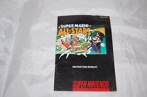 Vintage Nintendo SNES Super Mario All Stars Game Instruction Booklet No Game