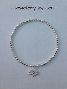 Silver-Infinity-Heart-Charm-Sterling-Silver-Stretch-Beaded-Bracelet