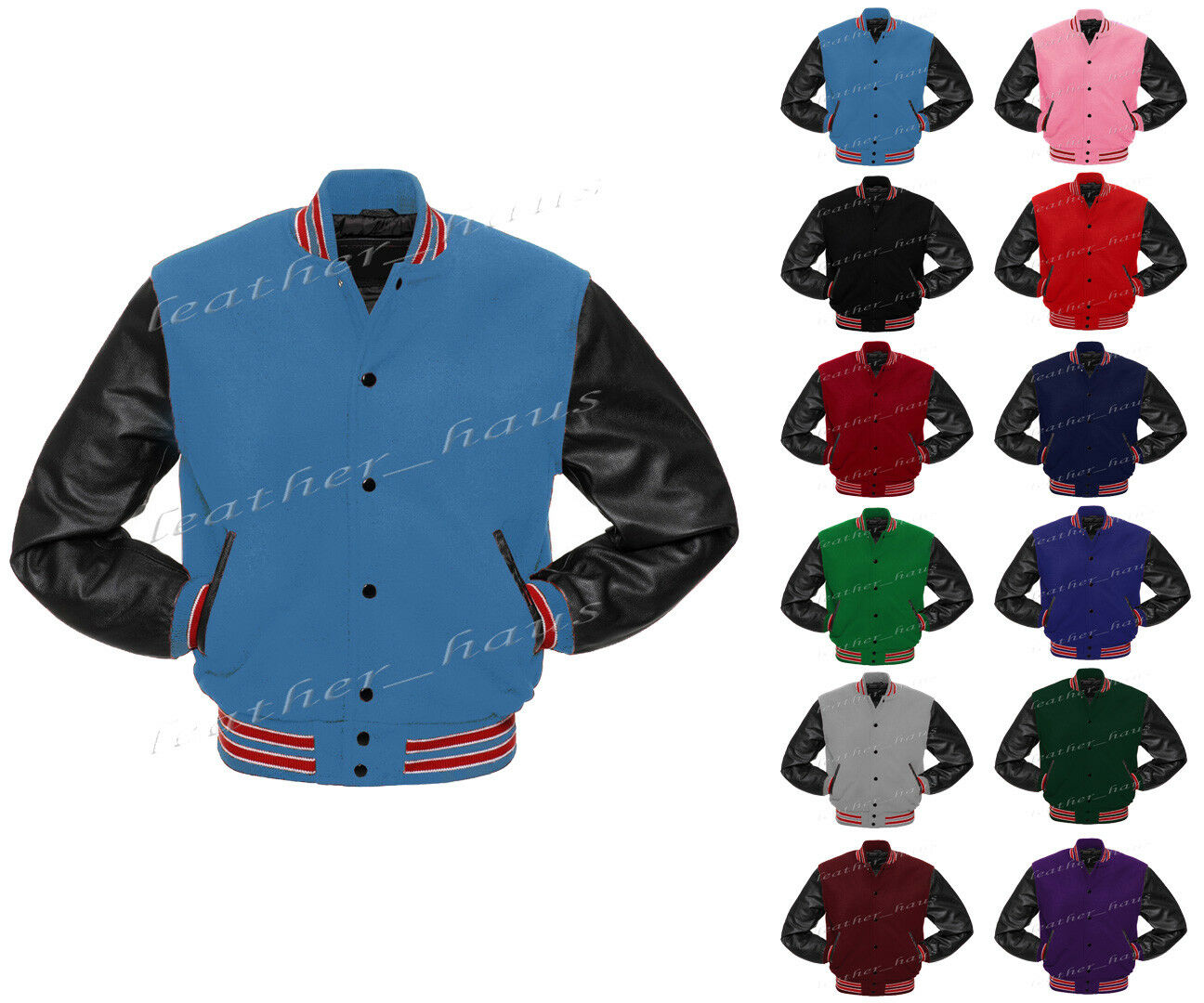 Superb Original Leather Sleeve Letterman College Varsity Varsity Varsity Wool Jacket   ;BS-RWS-LE 6a1