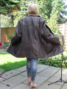 WOMEN-XXL-XXXL-MERINO-Shearling-Lambskin-Sheepskin-Fur-Leather-Coat-Jacket-D2421