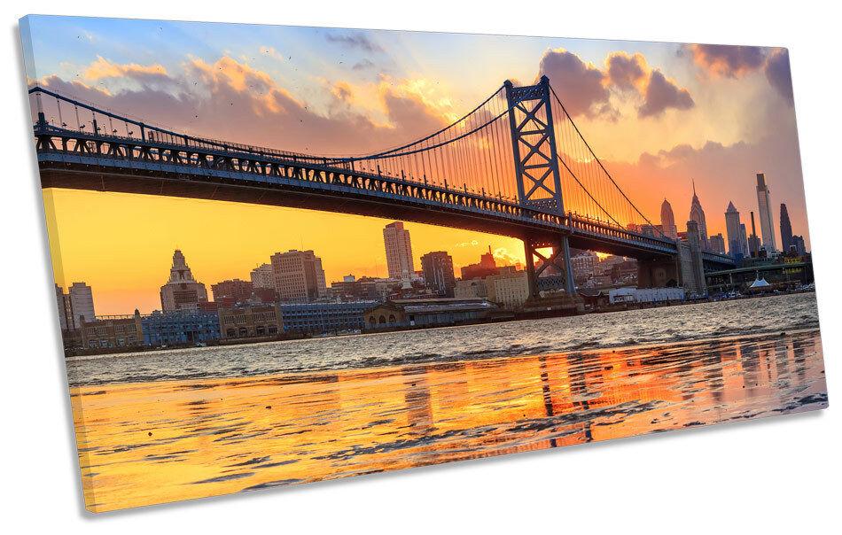 Philadelphia City Skyline Sunset PANORAMIC BOX FRAME CANVAS ART Picture