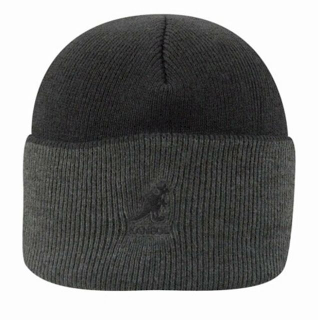 f1bf01654 Kangol Pull on Cuff Beanie Knit Winter Hat Black Gray Ribbed 2 Tone  Embroidered