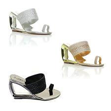 8ef943b669a item 1 LADIES WOMEN DIAMONTE TOE RING SLIP ON WEDGE SANDAL CUTOUT HEEL ALL  OCCASIONm336 -LADIES WOMEN DIAMONTE TOE RING SLIP ON WEDGE SANDAL CUTOUT  HEEL ALL ...