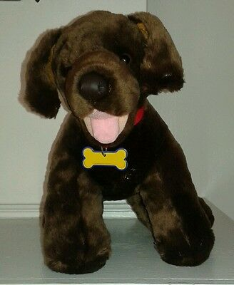 Build a Bear Chocolate Lab Labrador Retriever Plush Red Collar