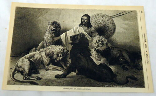 1880 magazine engraving ~ THEODORE, KING OF ABYSSINIA, IN STATE