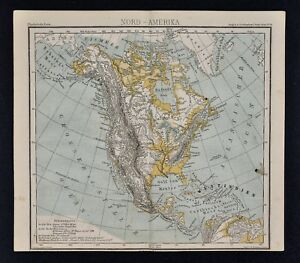 Details about 1875 Lange Physical Map - North America - United States  Canada Mexico Alaska