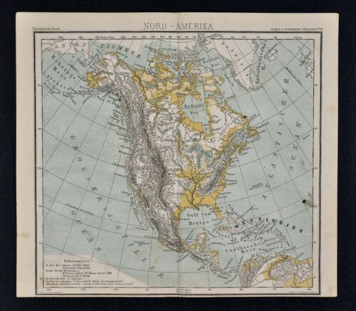 1875 Lange Physical Map North America United States Canada Mexico Alaska